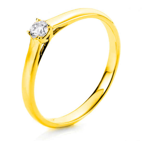 Diamant Schmuck Ring Verlobungsring 4er-Krappe 18 kt, 1 Brill. 0,15 ct
