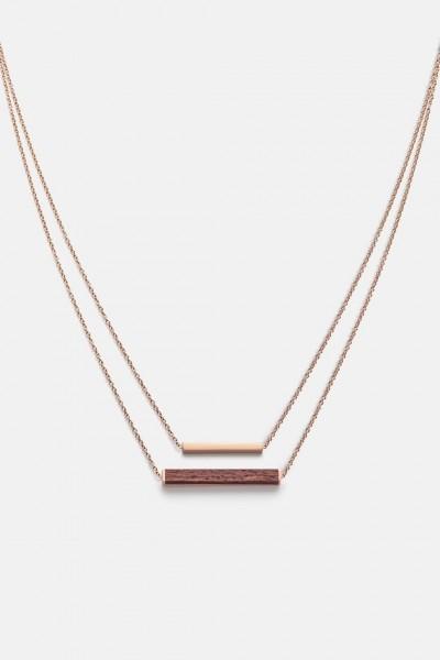 Kerbholz Damenschmuck Rectangle Necklace Rosewood Shiny Rose GEOREC9566