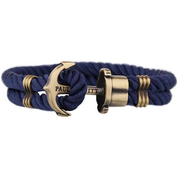 Paul Hewitt Ankerarmband PHREP IP Gold Nylon Marineblau, 22 cm, PH-PH-N-N-XXXL