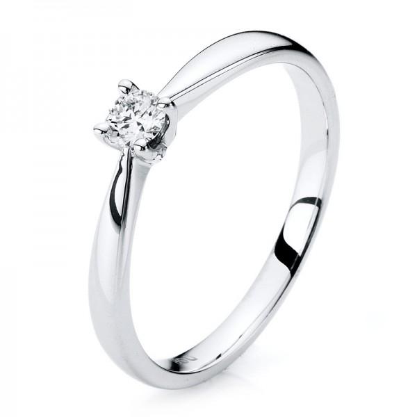 Solitaire Ring 585er Weißgold 14kt 0,15ct Ring Größe: 51