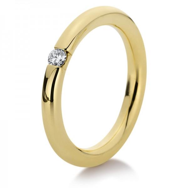 Solitaire Ring 585er Gelbgold 14kt 0,1ct Ring Größe: 54