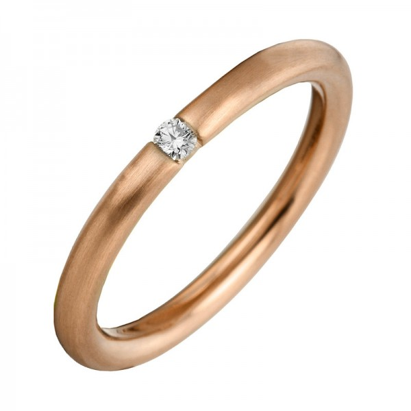 Solitaire Ring 585er Rotgold 14kt 0,07ct Ring Größe: 53