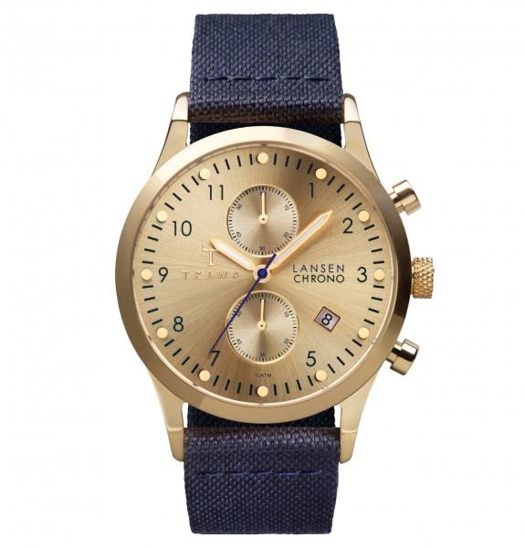 Triwa Gold Lansen Chrono Navy Canvas Classic Armbanduhr TRLCST103CL060713