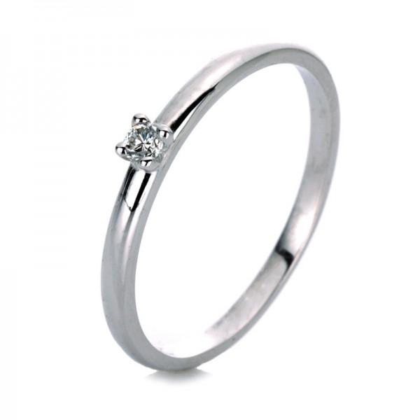 Solitaire Ring 585er Weißgold 14kt 0,06ct Ring Größe: 54