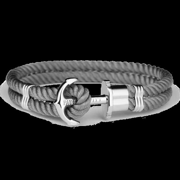 Paul Hewitt Ankerarmband PHREP IP Silber Nylon Grau, 19 cm, PH-PH-N-S-Gr-L