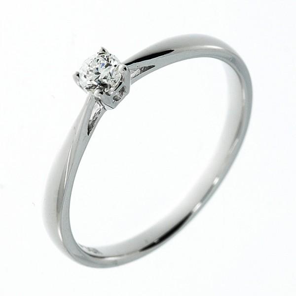 Solitaire Ring 585er Weißgold 14kt 0,14ct Ring Größe: 53