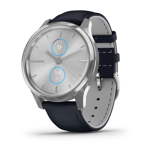 Garmin Vivomove Luxe Silber/Blau Smartwatch 010-02241-00