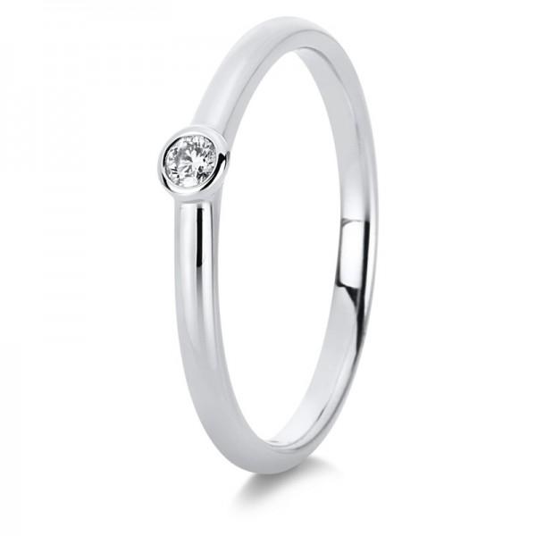 Verlobungsring Diamant Solitaire Ring 585er Weißgold 14kt 0,05ct Ring Größe: 54