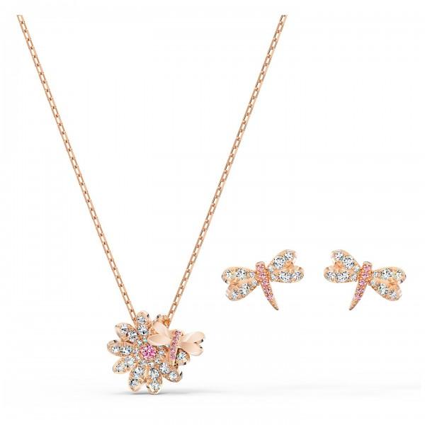 Eternal Flower Dragonfly Set, rosa, Rosé vergoldet, 5518141