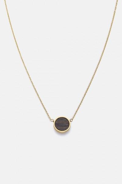 Kerbholz Damenschmuck Circle Necklace Sandalwood Shiny Gold GEOCIR1088