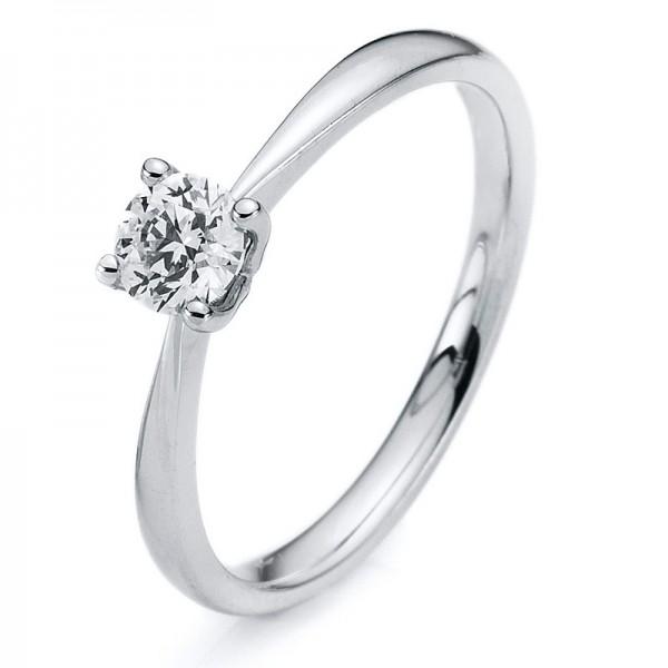 Solitaire Ring 750er Weißgold 18kt 0,2ct Ring Größe: 52