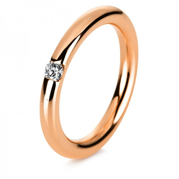 Solitaire Ring 585er Rotgold 14kt 0,1ct Ring Größe: 53