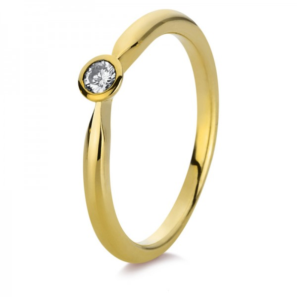 Solitaire Ring 585er Gelbgold 14kt 0,07ct Ring Größe: 54