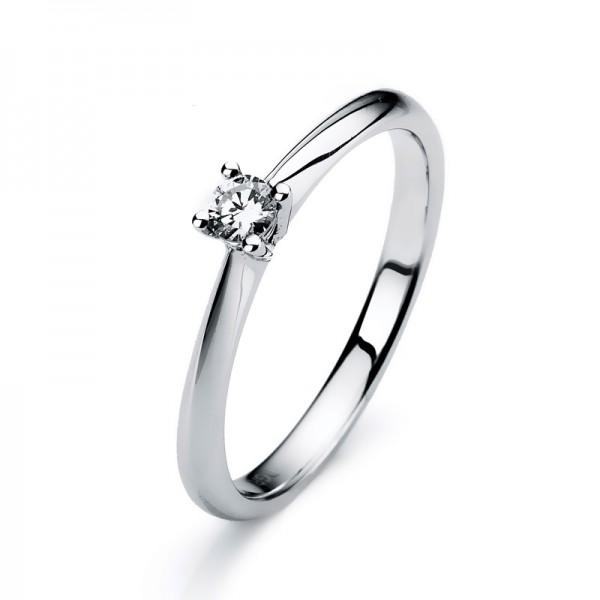 Solitaire Ring 585er Weißgold 14kt 0,1ct Ring Größe: 53
