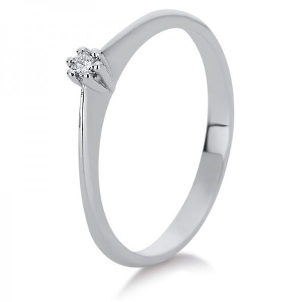 Solitaire Ring 585er Weißgold 14kt 0,05ct Ring Größe: 60