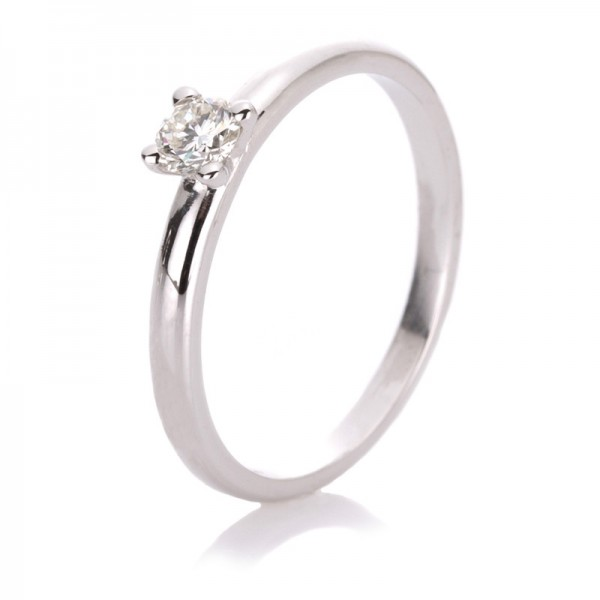Solitaire Ring 585er Weißgold 14kt 0,19ct Ring Größe: 55