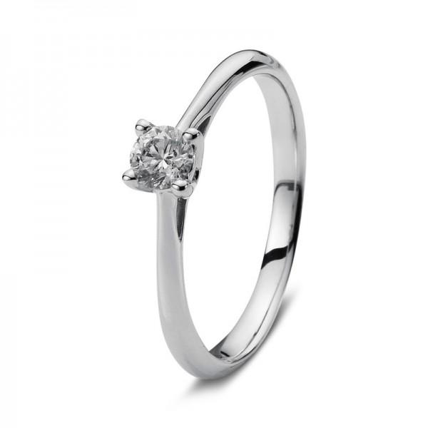 Solitaire Ring 585er Weißgold 14kt 0,25ct Ring Größe: 54