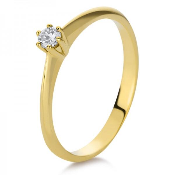 Solitaire Ring 585er Gelbgold 14kt 0,12ct Ring Größe: 56