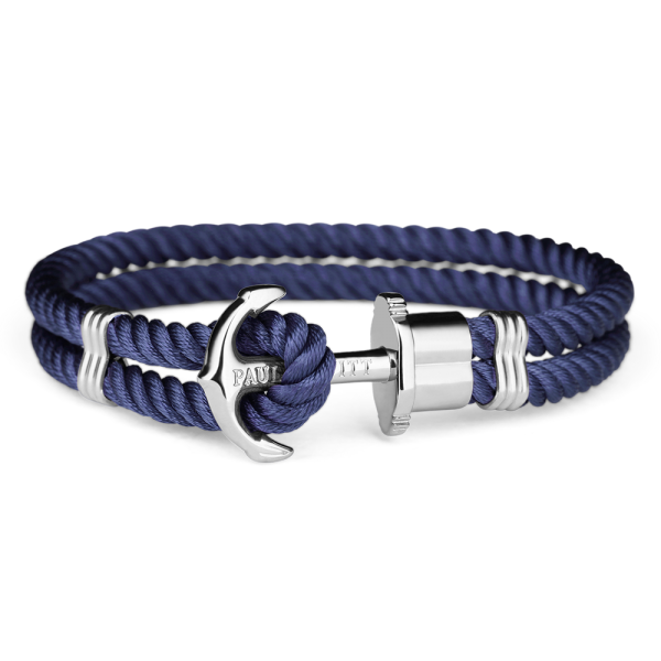 Paul Hewitt Ankerarmband PHREP IP Silber Nylon Marineblau, 20 cm; PH-PH-N-S-N-XL
