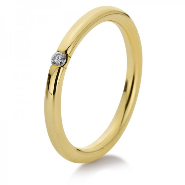 Solitaire Ring 750er Gelbgold 18kt 0,04ct Ring Größe: 54