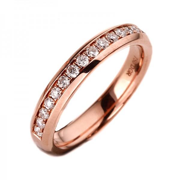 Memoire halb Ring 750er Rotgold 18kt 0,33ct Ring Größe: 54
