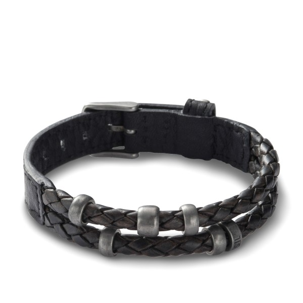 Fossil Herrenarmband JF85460040 Leder Schwarz