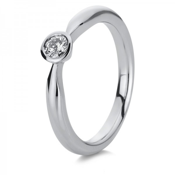Solitaire Ring 585er Weißgold 14kt 0,2ct Ring Größe: 54