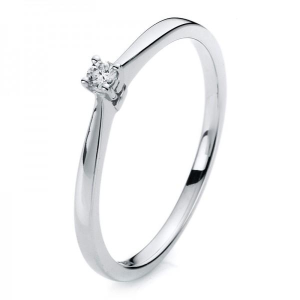 Solitaire Ring 585er Weißgold 14kt 0,05ct Ring Größe: 54