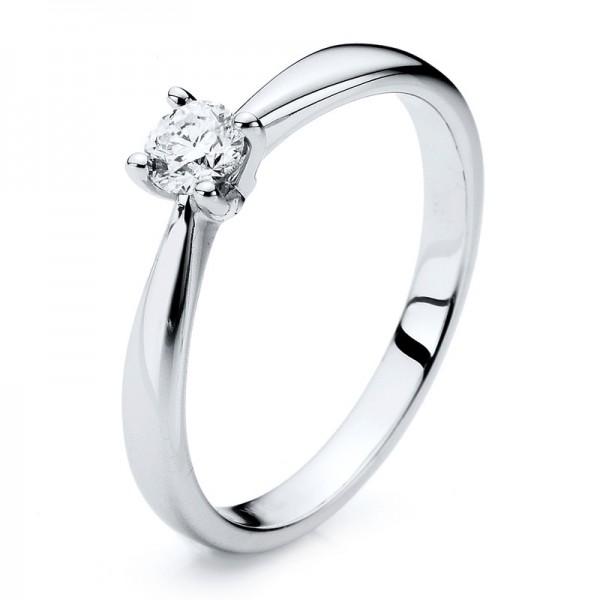 Solitaire Ring 585er Weißgold 14kt 0,24ct Ring Größe: 54