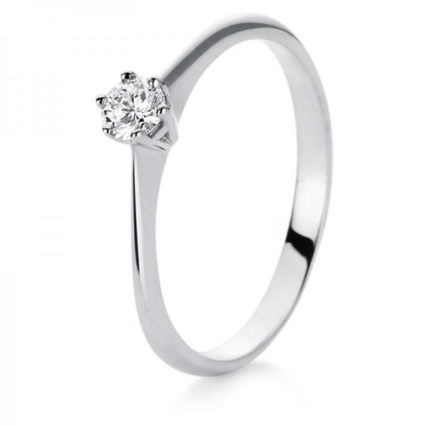 Solitaire Ring 585er Weißgold 14kt 0,16ct Ring Größe: 55