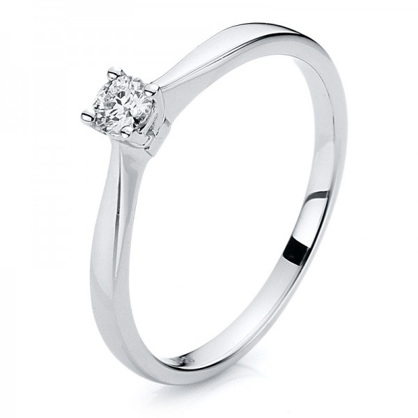 Solitaire Ring 585er Weißgold 14kt 0,13ct Ring Größe: 54