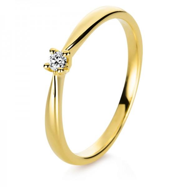 Solitaire Ring 750er Gelbgold 18kt 0,05ct Ring Größe: 54