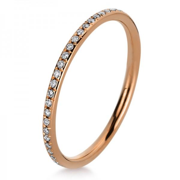 Memoire voll Ring 750er Rotgold 18kt 0,24ct Ring Größe: 53