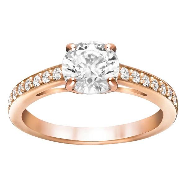 Swarovski Attract Round Ring, weiss, rosé Vergoldung, Gr. 58, 5184208