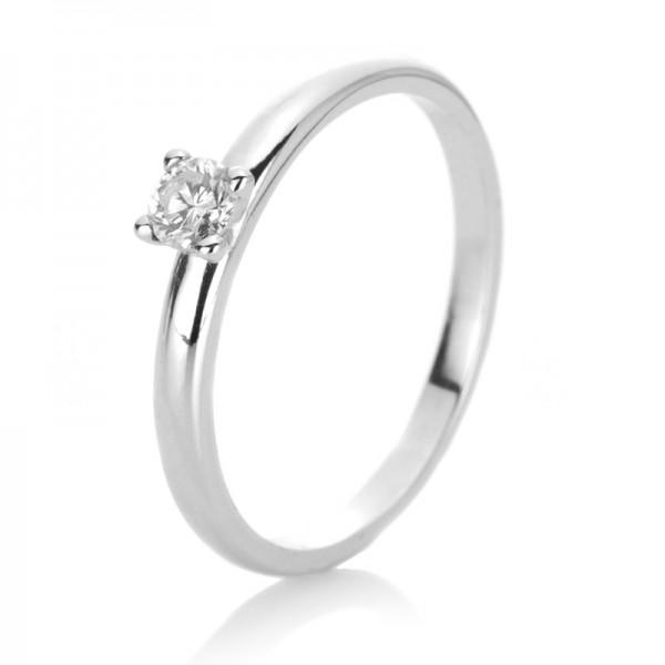 Solitaire Ring 585er Weißgold 14kt 0,17ct Ring Größe: 54