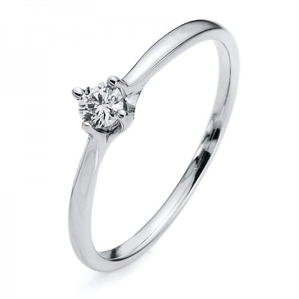 Solitaire Ring 585er Weißgold 14kt 0,13ct Ring Größe: 53