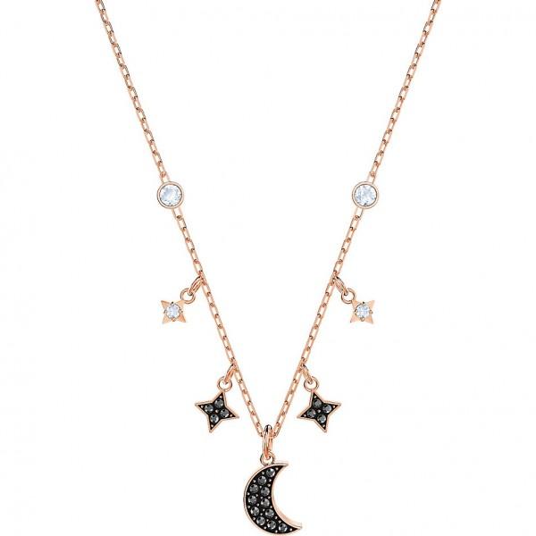 Swarovski Duo Moon Halskette, schwarz, rosé Vergoldung 5429737