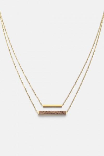 Kerbholz Damenschmuck Rectangle Necklace Walnut Shiny Gold GEOREC9559