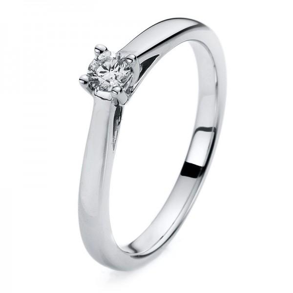 Solitaire Ring 585er Weißgold 14kt 0,16ct Ring Größe: 54