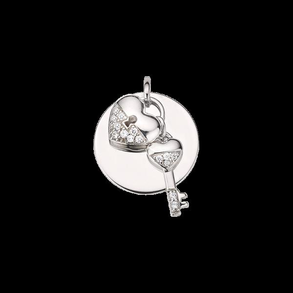 CEM 925er Silber Gravurplatte mit Herz u. Schlüssel BAH905418