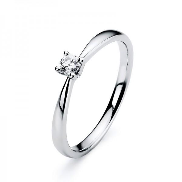 Solitaire Ring 585er Weißgold 14kt 0,09ct Ring Größe: 54