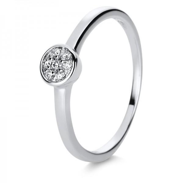 Illusion Ring 585er Weißgold 14kt 0,09ct Ring, Größe 56