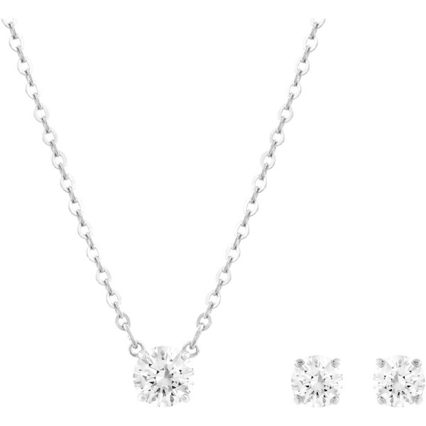 Swarovski Attract Set Round CZWH/RHS, Rhodium, CZ WHITE 5113468