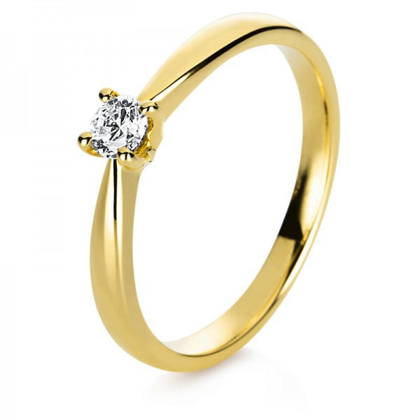 Solitaire Ring 750er Gelbgold 18kt 0,15ct Ring Größe: 53