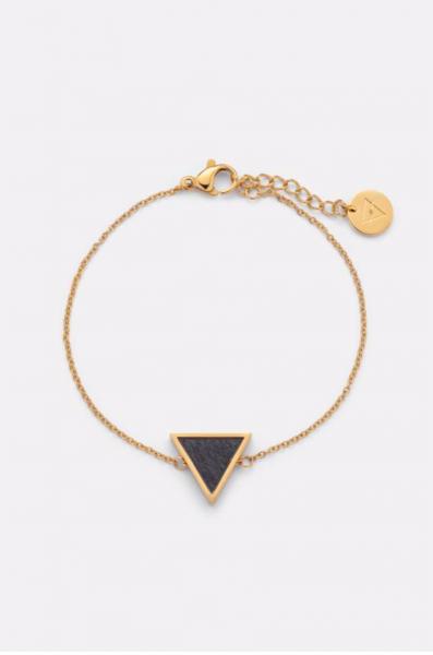 Kerbholz Damenschmuck Triangle Bracelet-Sandalwood - Shiny Gold