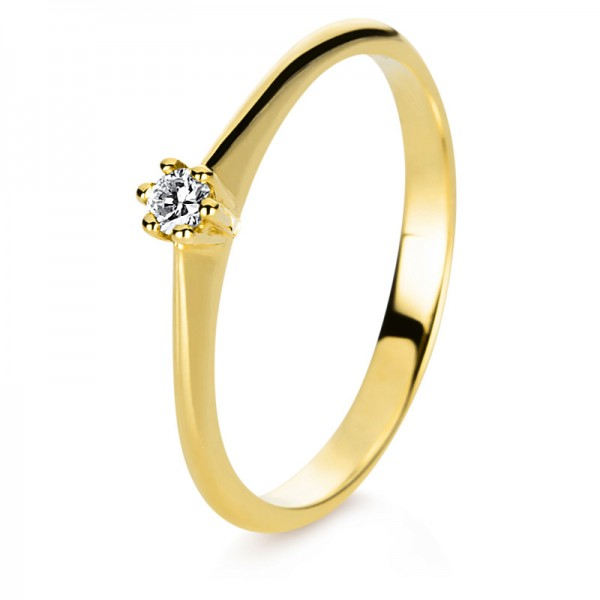 Solitaire Ring 585er Gelbgold 14kt 0,06ct Ring Größe: 56