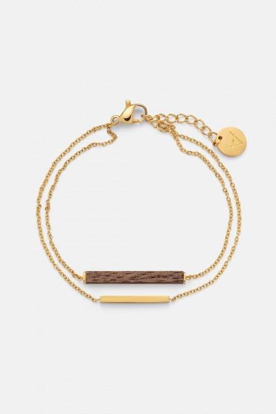 Kerbholz Damenschmuck Rectangle Bracelet-Walnut - Shiny Gold