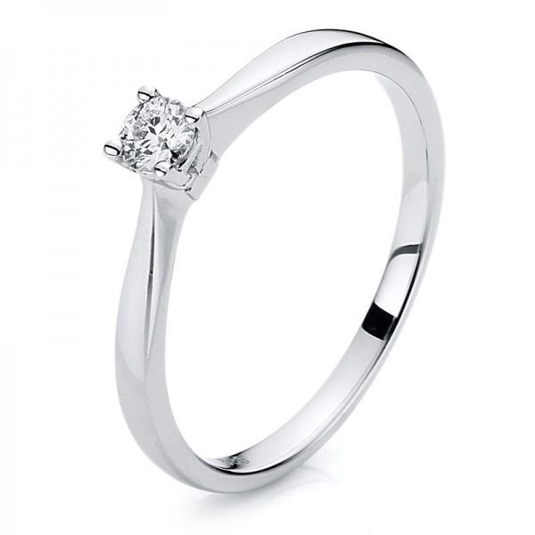 Solitaire Ring 585er Weißgold 14kt 0,14ct Ring Größe: 54