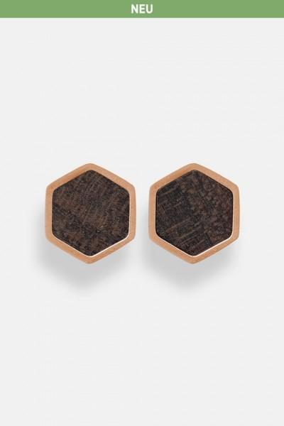 Kerbholz Damenschmuck Hexa Earring Rosegold GEOHEX5376