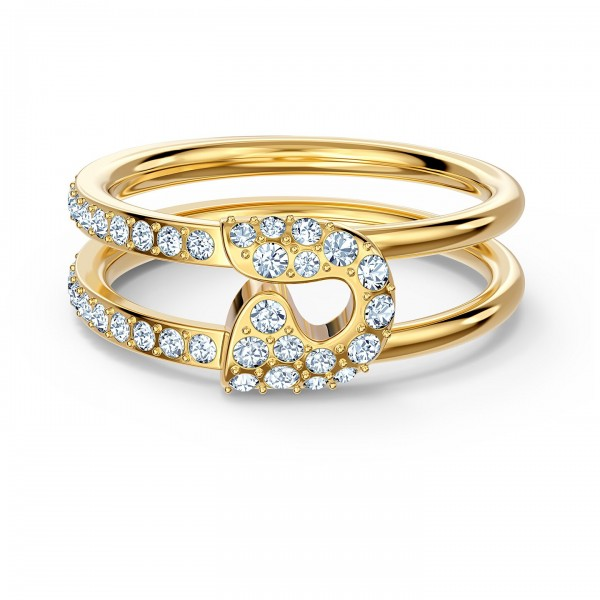 Swarovski So Cool Pin Ring, Größe 55, weiss, vergoldet, 5535566